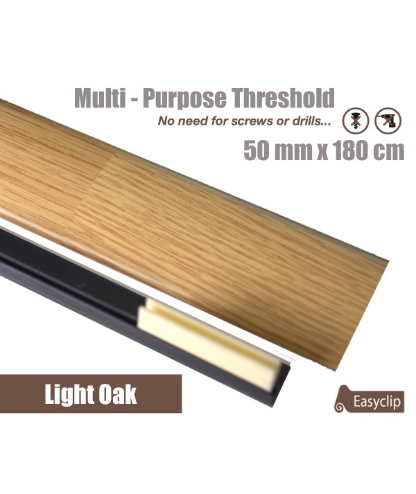 Light Oak Laminated Transition Threshold Strip 50mm x180cm Multi-Height/Pivots