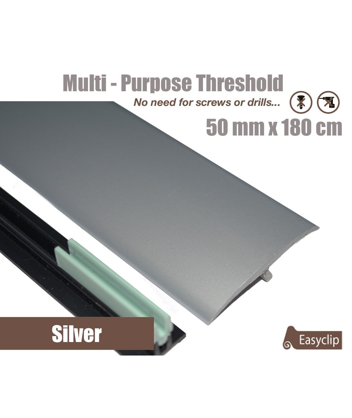 Silver Laminated Transition Threshold Strip  50mm x180cm Multi-Height/Pivots
