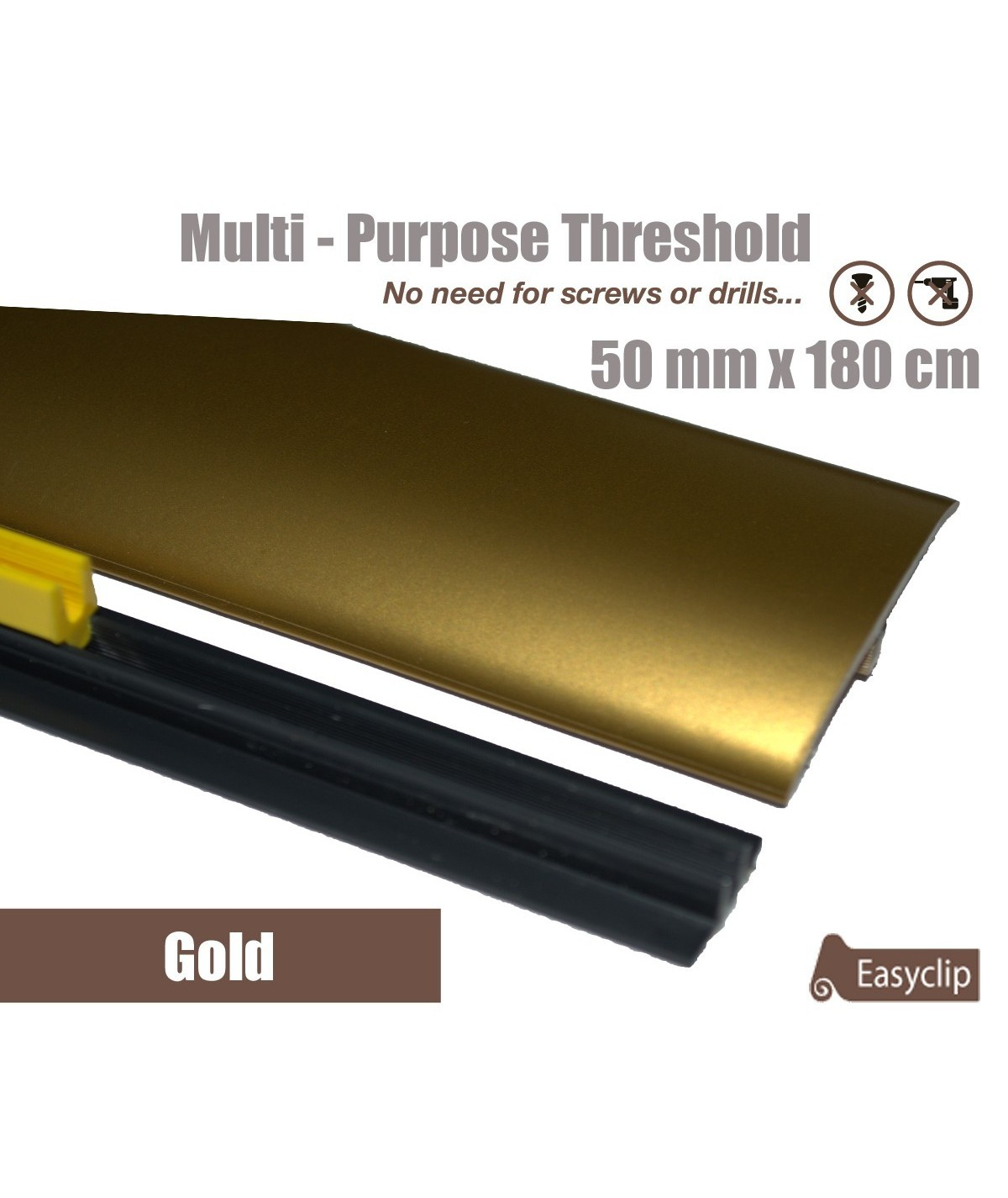 Gold Laminated Transition Threshold Strip 50mm x180cm Multi-Height/Pivots
