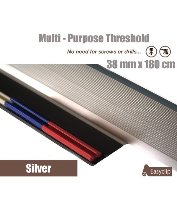 Silver 38mm x 180cm Aluminium Transition Threshold Strip Door Threshold Multi Purpose Easyclip Adhesive
