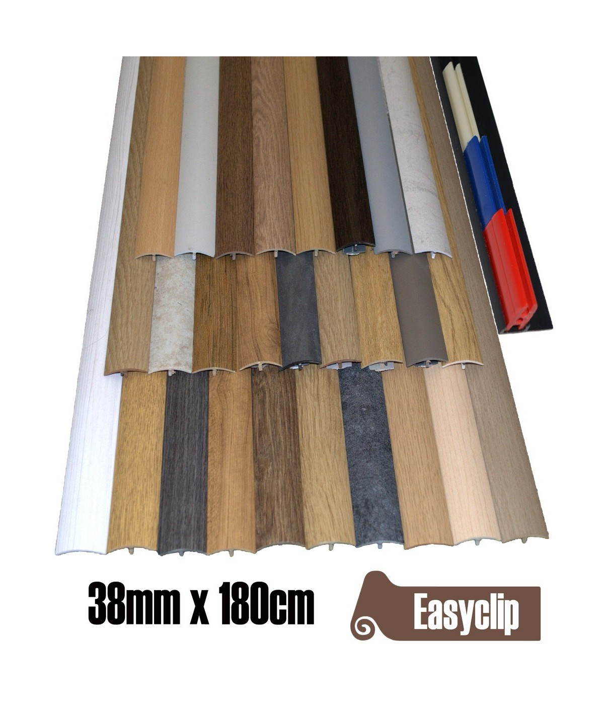 Made to Order 38mm x 180cm  Transition Threshold Strip Door Threshold Multi Purpose Easyclip Adhesive